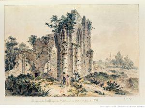 Dessin des ruines de l'abbaye
