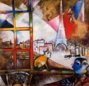 Peinture de Chagall - Paris par la fenêtre